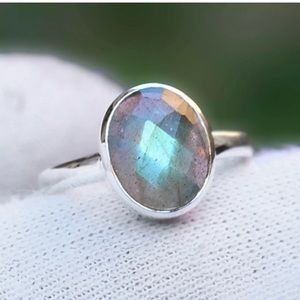 Labradorite Gemstone Ring 925 Sterling Silver